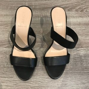 LIKE NEW J. Crew Black Leather Heeled Sandals